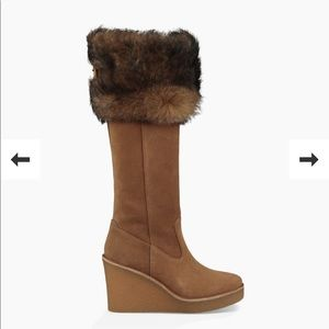 UGG Shoes - NWT UGG Valberg Fur Wedge Tall Suede Boots